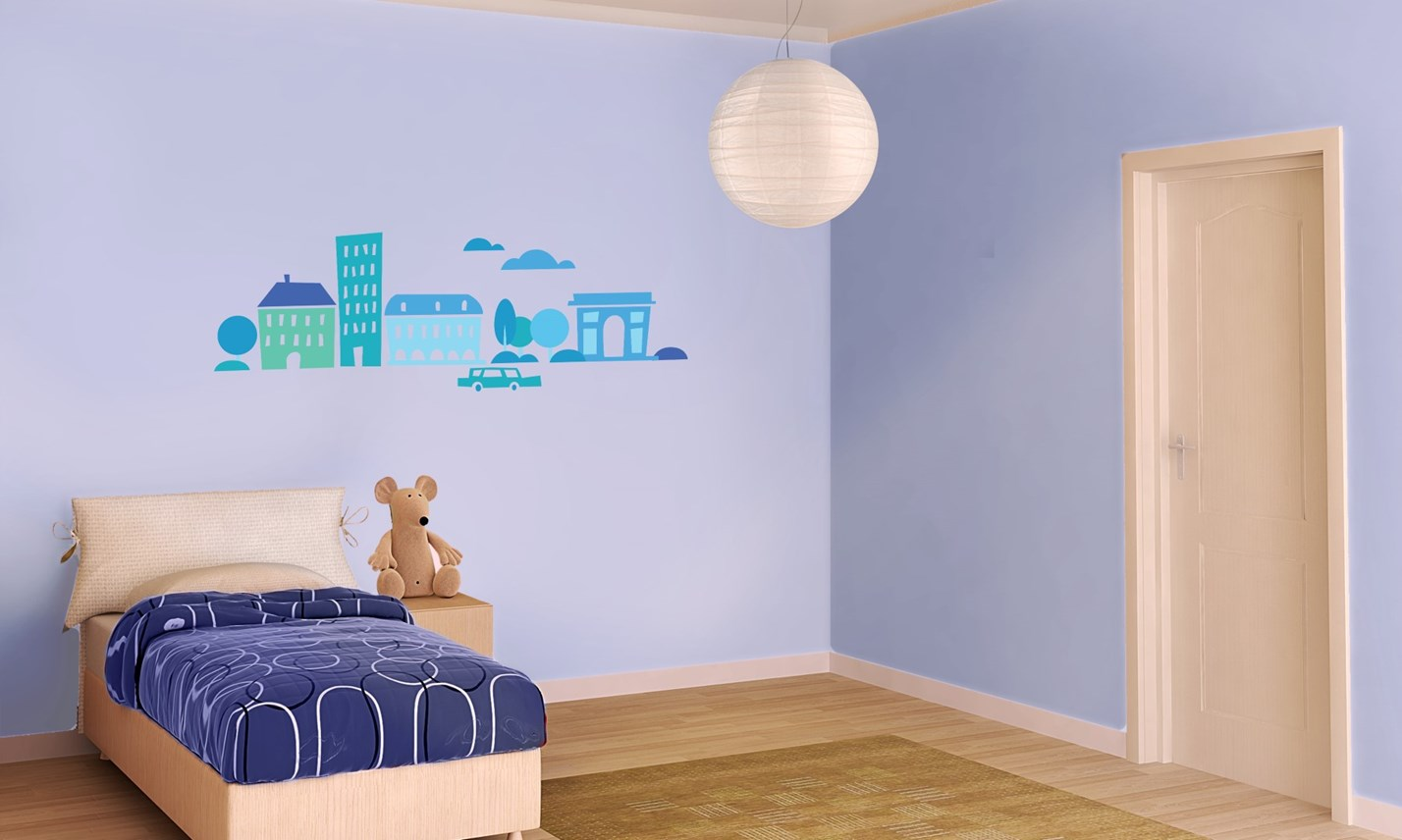 Decorazione Pareti Per Bambini : Stickers murali bambini cameretta greca per bambini blu leostickers